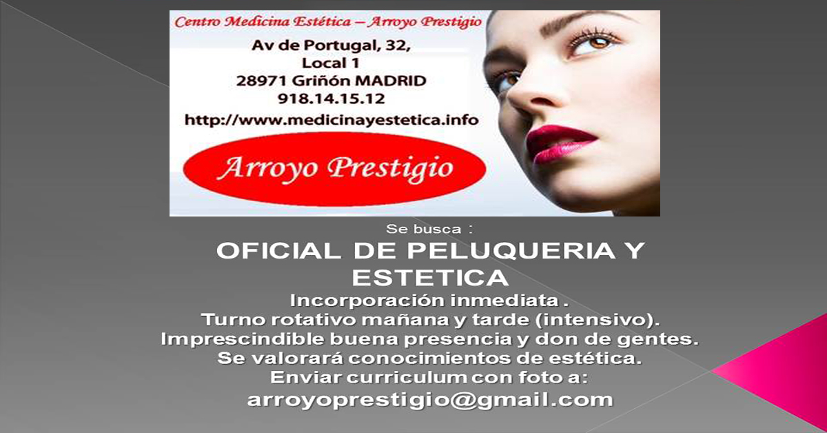 oferta trabajo peluquera esteticista